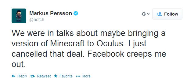 Minecraft Cancels Oculus Rift Version