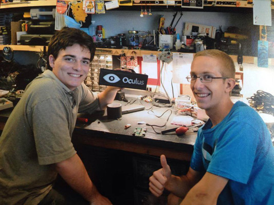 Palmer Luckey and Chris Dycus in the early startup days at Oculus via Facebook