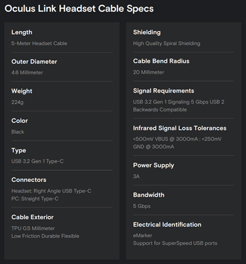 oculus link cable specs