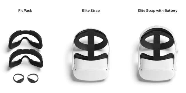 Oculus Quest 2 First-Party Accessories, Includes Elite Strap, Elite Strap with Battery, Fit Pack, & Carrying Case